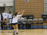 FILE PHOTO: MICHELLE XU/THE HOYA Junior outside hitter Lauren Saar has played in all 20 matches this season, starting 16. She is fourth on the team with 133 kills, averaging 1.99 kills per set. Saar is also third on the team in digs with 171, good for 2.55 per set.