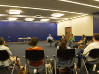 DANIEL SMITH/THE HOYA GUPD Chief Jay Gruber fielded questions from students at a roundtable discussion on Tuesday.