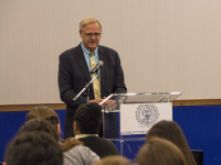 DANIEL SMITH/THE HOYA Vice President for Student Affairs Todd Olson said the university is no longer considering a consolidated diversity center at a town hall.
