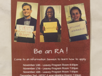 MICHELLE XU/THE HOYA Amid debate over RA rights, a poster advertises the position to students.