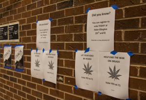 DANNY SMITH/THE HOYA Fliers in Red Square, not signed by any group, urged students to vote in support of Initiative 71 to legalize marijuana in D.C. in today's election.