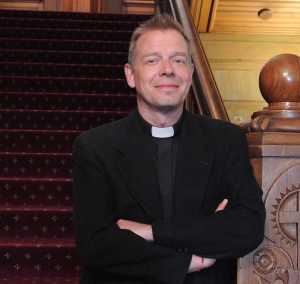 KRISTEN SKILLMAN/THE HOYA Fr. Gregory Schenden, S.J., came to Georgetown this fall as the new Roman Catholic Chaplain, replacing Fr. Pat Rogers, S.J.