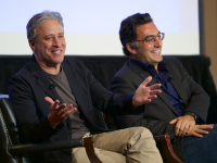 "COURTESY GEORGETOWN UNIVERSITY Jon Stewart and journalist Maziar Bahari discussed Stewart's film ""Rosewater,"" based on Bahari's life, in Gaston Hall on Sunday afternoon."