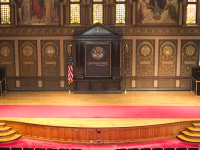 ARIANA TAFTI/THE HOYA The stage in Gaston Hall will undergo construction this summer to address structural problems. Until then, groups of more than 45 people cannot perform on the stage.
