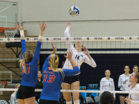 FILE PHOTO: NATE MOULTON/ THE HOYA Freshman outside hitter Terese Cannon had 11 killls and six digs in Georgetown's 3-0 loss to the Creighton Bluejays on Saturday. Cannon has 271 kills and 79 digs this season.