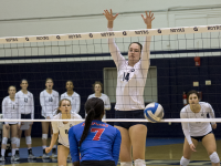 FILE PHOTO: NATE MOULTON/ THE HOYA Freshman outside hitter Terese Cannonl led the team with 11 kills and 11 digs in Georgetown's three set loss to Xavier Saturday. It was the first double-double of her career. Cannon has 287 kills and 96 digs this season in 92 sets played.