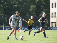 FILE PHOTO: NATE MOULTON/ THE HOYA Junior defender Sarah Adams has contributed to a Hoyas defense that has recorded 11 shutouts, including one against West Virginia on Saturday.