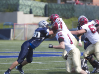 FILE PHOTO: cLAIRE sOISSON/THE HOYA Senior defensive lineman Alec May leads the Patriot League with 15.5 sacks this season. He is second on the team with 80 tackles.