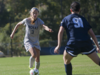 FILE PHOTO: JULIA HENNRIKUS/THE HOYA Freshman defender Drew Topor has replaced junior defender Marina Paul in the defense. Topor has 15 starts and a goal this year.