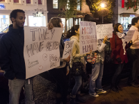 FILE PHOTO: DAN GANNON/THE HOYA Students protested the Georgetown Sabra Hummus House pop-up shop in October for its owners' association with the Israeli army.