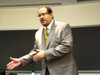 "FILE PHOTO: SARI FRANKEL/THE HOYA Sociology professor Michael Eric Dyson drew national attention for his appearance to discuss police and race on ""Meet the Press"" Sunday morning."