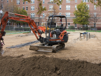 JULIA HENNRIKUS/THE HOYA Initial construction has begun on a beach volleyball court in the Southwest Quad.