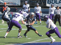 ARIANA TAFTI/THE HOYA Senior defensive end Alec May broke the single-season sack record of 16 sacks on a four-yard sack during the second quarter.