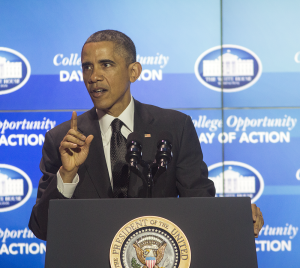 DANIEL SMITH/THE HOYA President Barack Obama delivered the keynote speech at the second White House College Opportunity Day of Action on Thursday.