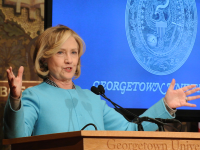 KRISTEN SKILLMAN/THE HOYA Former Secretary of State Hillary Clinton spoke in Gaston Hall on Wednesday morning about the importance of female inclusion in security.
