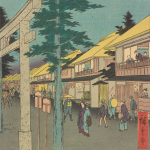 "COURTESY ARTHUR M. SACKLER GALLERY ""Famous Places of the Fifty-Three Stations: Mishima"" is a Japanese-styled woodblock."