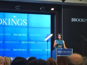 ELAINA KOROS/THE HOYA First lady Michelle Obama spoke about the issue of girls' access to education around the world at the Brookings Institution.