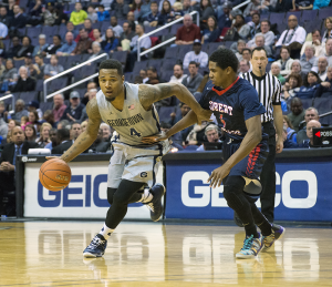 FILE PHOTO: NATE MOULTON/THE HOYA Junior guard D'Vauntes Smith-Rivera, who is averaging a team-high 14 points, led the Hoyas with 16 points.