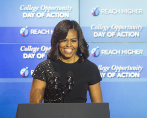 DANIEL SMITH/THE HOYA First Lady Michelle Obama called attention to inequality in the college admissions process in her speech Thursday.