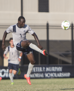 FILE PHOTO: NATE MOULTON/THE HOYA Sophomore defender Joshua Yaro, the Big East Defensive Player of the Year, helped Georgetown record 10 shutouts this season.
