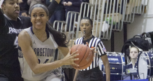 FILE PHOTO: JULIA HENNRIKUS/THE HOYA Sophomore forward Faith Woodard will head to Cincinnati, Ohio after a 11 rebound effort in the Hoyas' loss to Villanova. Woodard is averaging 7.6 points and 5.4 rebounds per game for the Blue and Gray this season.