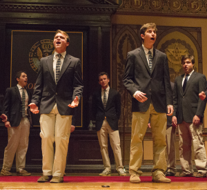 FILE PHOTO: REBECCA GOLDBERG/THE HOYA Members of the Chimes gather every year in Healy Hall to present their popular a cappella concert, the Cherry Tree Massacre.