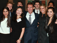 GEORGETOWN RETAIL & LUXURY ASSOCIATION Members of GRLA posed with Chanel President and COO John Galantic when he spoke in Gaston Hall last January.