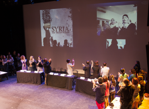 "FILE PHOTO: MICHELLE XU/THE HOYA The Georgetown performance of ""Syria: The Trojan Women,"" was delayed after the performers were denied U.S. visas. Their voices were later able to be heard through a summit that included panelists and a live video chat."