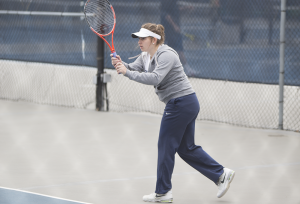 FILE PHOTO: ALEXANDER BROWN/THE HOYA Sophomore Victoire Saperstein beat Campbell freshman Georgina Segarra 6-4, 6-1 in the top singles spot at the VCU 4-1 Invitational. Saperstein will look to help the Hoyas earn another victory against James Madison this Saturday.