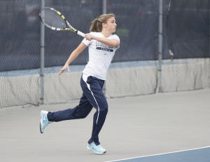FILE PHOTO: ALEXANDER BROWN/THE HOYA Sophie Panarese is the lone senior playing for the women's tennis team this year. Panarese finished the 2013-14 season with a 10-15 overall record.