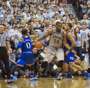 FILE PHOTO: NATE MOULTON/THE HOYA Senior center Joshua Smith notched his second straight double-double with 15 points and 12 rebounds in Georgetown's overtime loss to Providence on Saturday afternoon.