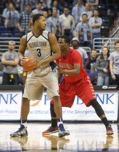 FILE PHOTO: MICHELLE XU/THE HOYA Senior forward Mikael Hopkins may see some playing time at the center position when the team travels to Providence this Saturday.