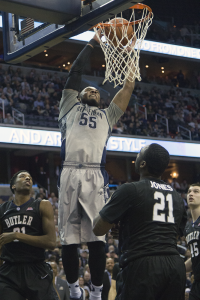 JULIA HENNRIKUS/THE HOYA Senior guard Jabril Trawick, pictured at the Butler game, scored 10 points against the Bulldogs on Jan. 17. He is averaging 8.2 points and 4.1 rebounds per game this season.