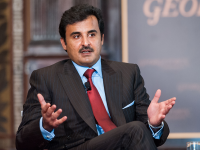 COURTESY GEORGETOWN UNIVERSITY Sheikh Tamim Bin Hamad Al-Thani, the emir of Qatar, spoke at Gaston Hall on Thursday. Student protests against labor practices followed his appearance.