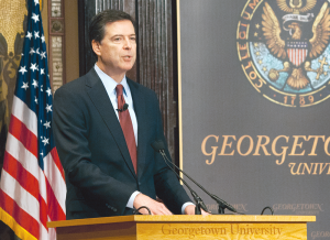 SOPHIE FAABORG-ANDERSON FOR THE HOYA In light of events in Ferguson, Cleveland and Staten Island, FBI Director James Comey delivered remarks on race relations and law enforcement in an unprecedented address in Gaston Hall on Thursday.