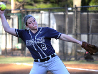 FILE PHOTO: ERIN NAPIER/THE HOYA  Senior pitcher Megan Hyson hit a grand slam in her relief effort against South Dakota on Friday to help the Hoyas to an 8-0 win.