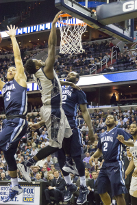 Freshman forward L.J. Peak tied Villanova senior guard Darrun Hilliard with a game-high 15 points in Georgetown's loss to the Wildcats on Feb. 7.