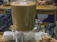 ISABEL BINAMIRA/THE HOYA Georgetown Bubble, a student-run startup company, hosted its first pop-up store on the second floor of Lauinger Library to provide students with bubble tea. It sold out within half an hour.
