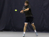 JULIA HENNRIKUS/THE HOYA Freshman Peter Beatty has won four of his six singles matches so far this season. He suffered a close three-set loss to DePaul's Alex Galoustian on Friday as the Blue Demons defeated the Hoyas 7-0.