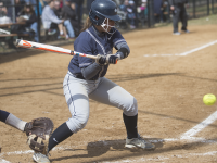 JULIA HENNRIKUS/THE HOYA Sophomore first baseman Alessandra Gargicevich-Almeida is tied for second on the team with 25 hits. She has a batting average of .298 in 2015.