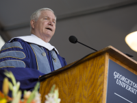 FILE PHOTO: ALEXANDER BROWN/THE HOYA Former Secretary of Defense Robert Gates (GRD '74) urged School of Foreign Service graduates to buck trends and embrace public service in his May commencement address to the Class of 2014.
