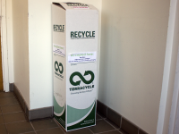 SARAH LOBER FOR THE HOYA  TerraCycle bins, which were originally only located outside Vital Vittles, have now expanded their reach to all four freshman dorms and the Healey Family Student Center.