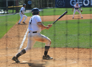 FILE PHOTO: MICHELLE XU/THE HOYA Junior catcher Nick Collins recorded five hits, scored three runs and notched three RBIs in Georgetown's three-game series against Villanova.