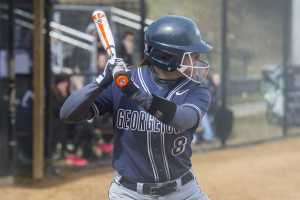 FILE PHOTO: JULIA HENNRIKUS/THE HOYA Senior pitcher Megan Hyson pitched four innings and allowed one run in Georgetown's extra-inning 5-4 win over DePaul.