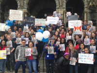 JACK BENNETT/THE HOYA The Last Campaign for Academic Reform and the Latino Leadership  Forum jointly staged a sit-in at the Office of the President.