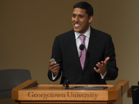 FILE PHOTO: NATE MOULTON/THE HOYA Former USAID Administrator Rajiv Shah, who currently serves as an SFS distinguished fellow-in-residence, reflected on his tenure at USAID and his goals for his Georgetown tenure in an exclusive interview.