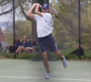 JULIA HENNRIKUS/THE HOYA Senior John Brosens won at first doubles alongside freshman Peter Beatty in an 8-6 finish in Georgetown's 6-1 loss to George Washington.