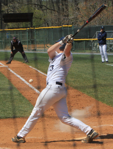 FILE PHOTO: MICHELLE XU/THE HOYA Senior first baseman AC Carter hit a two-run home run on Sunday.