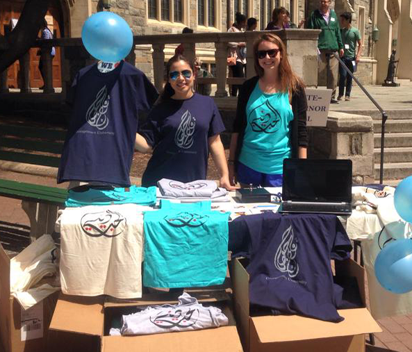 COURTESY WILL TODMAN Masters of Arab Studies students sell T-shirts in Red Square to raise funds for Syrian and Iraqi refugees.