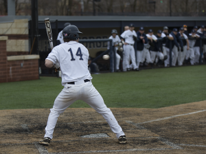 FILE PHOTO: ALEXANDER BROWN/THE HOYA Sophomore third baseman Jake Kuzbel drove in two runs on two hits in Georgetown's 10-4 win over Coppin State. Kuzbel is second on the team with 33 hits this season